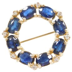 14k Gold 5.68 ctw Natural Sapphire and Diamond Circle Pin / Brooch