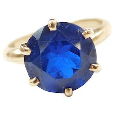14k Gold 5.75 Carat Royal Blue Spinel Solitaire Ring