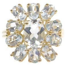5.75 ctw Aquamarine Cluster Ring 14k Gold