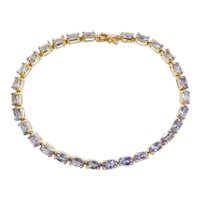 "7"" 5.80 ctw Natural Tanzanite Tennis Bracelet 14k Yellow Gold"