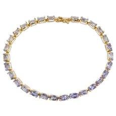 """7"""" 5.80 ctw Natural Tanzanite Tennis Bracelet 14k Yellow Gold"""