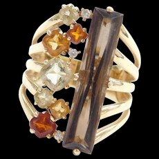 Vintage 14k Gold 5.97 ctw Long Colorful Quartz and Diamond Ring