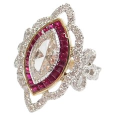 GIA Certified 1.11 Carat Marquise Diamond in 1.59 ctw Ruby and Diamond Bow Setting 14k Gold Two-Tone Ring