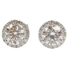 2.04 ctw Lab Grown Diamond Halo Stud Earrings 14k White Gold .17 ctw Earth Minded Diamonds ~ 2.21 ctw