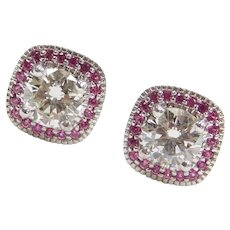 1.10 ctw Ruby and Diamond Halo Stud Earrings 14k White Gold