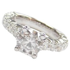 2.00 Carat I2 F Diamond in 1.14 ctw Engagement Ring 14k White Gold ~ 3.14 ctw