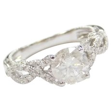 1.32 Carat Diamond in .39 ctw Engagement Ring 14k White Gold ~ 1.71 ctw