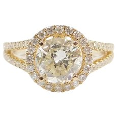 2.22 Carat Diamond in .65 ctw Halo Engagement Ring 14k White Gold ~ 2.87 ctw