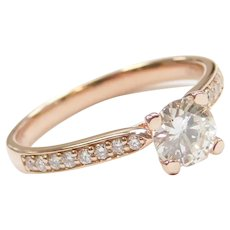 .58 Carat Diamond Engagement Ring 14k Rose Gold ~ .73 ctw