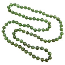 "8mm Jade Bead Long Layering Necklace 30"""