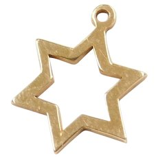 14k Gold 6 Pointed Star Charm