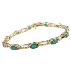 "6.05 ctw Natural Emerald and Diamond Bracelet 14k Gold 6 3/4"""