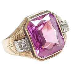 Edwardian 10k Gold 6.05 ctw Lab Pink Sapphire and Diamond Ring ~ Two-Tone