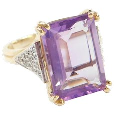 14k Gold 6.12 ctw Amethyst and Diamond Ring ~ Two-Tone