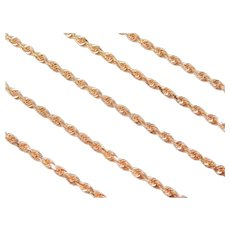 "22"" 14k ROSE Gold Diamond Cut Rope Chain ~ 12.1 Grams"