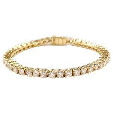 "6.20 ctw Diamond Tennis Bracelet 18k Yellow Gold ~ 6 7/8"""