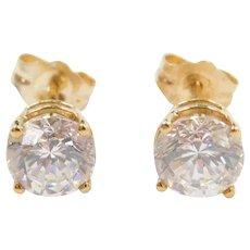 18k Gold 1.80 ctw Faux Diamond Stud Earrings