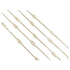 "32"" Long 14k Gold Filigree Station Necklace ~ 1950's ~ 3.8 Grams"