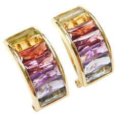 18k Gold 6.42 ctw Colorful Gemstone Earrings with Omega Backs