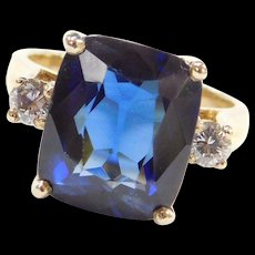 14k Gold 6.80 ctw Cushion Cut Lab Sapphire and Diamond Ring