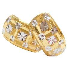 18k Gold Two-Tone Huggie Hoop Earrings