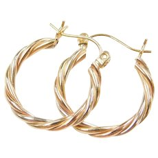 14k Gold Tri-Color Twisted Hoop Earrings