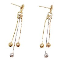 14k Gold Tri-Color Ball Dangle Earrings