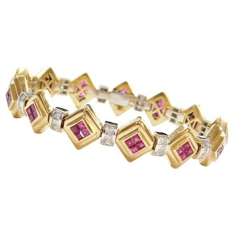 """7.41 ctw 18k Gold Natural Ruby and Diamond Bracelet ~ 7 1/4"""" Two-Tone"""