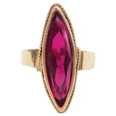Vintage 18k Gold 7.82 Carat Created Ruby Ring