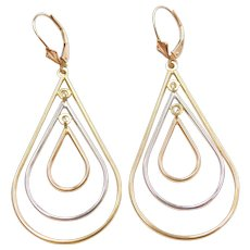 Big 14k Gold Tri-Color Teardrop Earrings