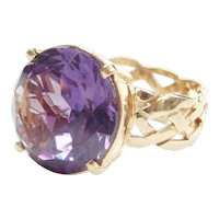 14k Gold 8.80 Carat Created Alexandrite Cocktail Ring with Wide Woven Shank