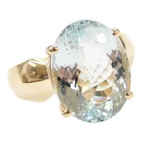 8.95 Carat Aquamarine Solitaire Ring 14k Gold