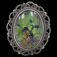 Vintage 950 Silver Dichroic Art Glass Ring