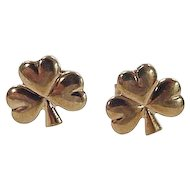 Vintage 9k Gold Three Leaf Clover Stud Earrings ~ Made in Ireland / Irish