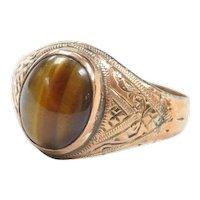 Art Deco 9k Gold Filled Men's Tigers Eye Ring
