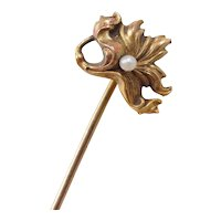 Victorian 9k Gold Seed Pearl Stick Pin