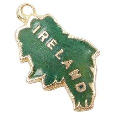9k Gold Green Enamel Ireland Charm