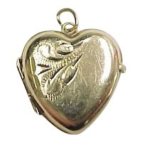 Vintage 9k Gold Heart Locket Charm