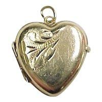 Vintage 9k Gold Heart Locket Charm