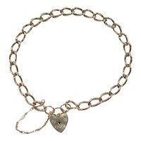 "Victorian Revival 9k Gold Link Heart Lock Bracelet ~ 8"""
