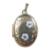Vintage 9k Gold Two-Tone Flower Locket Pendant