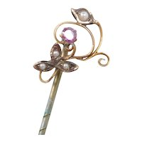 Victorian 9k Gold Faux Amethyst and Seed Pearl Stick Pin