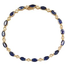 "7"" 14k Gold 9.12 ctw Natural Sapphire and Diamond Bracelet"