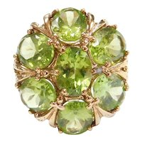 9.45 ctw Peridot Ornate Cocktail Ring 10k Yellow Gold