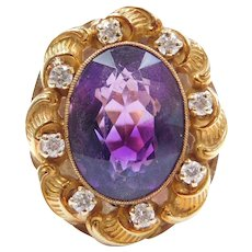 9.70 ctw Amethyst and Diamond Art Nouveau Halo Ring 14k Gold