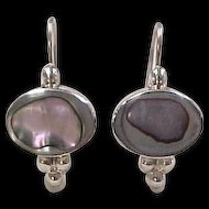 Vintage Sterling Silver Abalone Shell Earrings