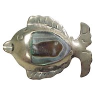 Sterling Silver Abalone Fish Brooch / Pin