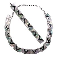 Vintage Sterling Silver Taxco Abalone Shell and Onyx Inlay Necklace and Bracelet Set