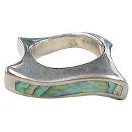 Vintage Sterling Silver Square Abalone Shell Ring