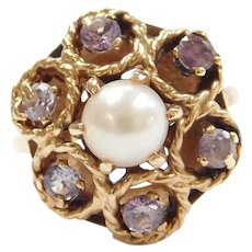 14k Gold .72 ctw Natural Alexandrite and Cultured Pearl Ring Retro Circa 1950's